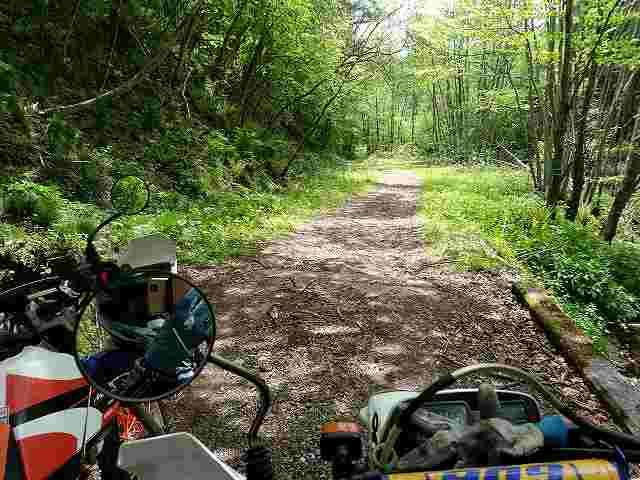 林道にはこんな路面が普通にあります。