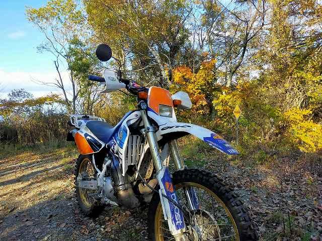 DT200WR。秋は日が短いので16時には林道を下りたいですな。