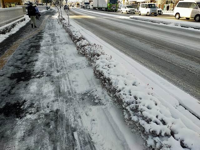 長野の主要道の冬の朝はこれぐらい凍ってるのが珍しくないです。