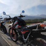 セロー225W。まだ長野のGWくらいだと路肩に雪があるのでこういうバイクの方が楽。