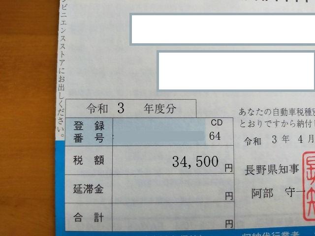 アバルト595コンペの納税通知書。