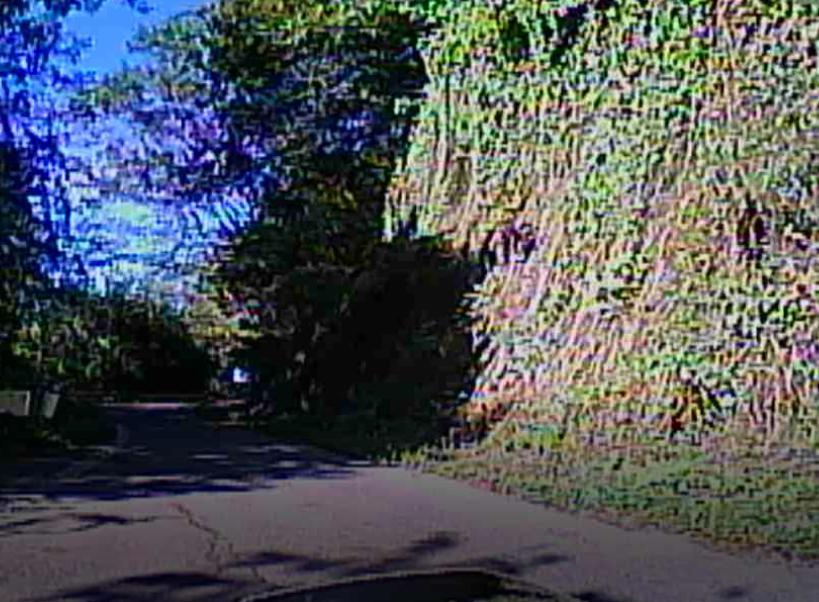 林道入り口と勘違いしそうな長野県道18号の狭路区間。